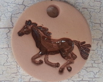 Custom Small Bisque Pottery Pendant or Mini Ornament - Aromatherapy Essential Oil Diffuser w/Glazed Details  - RUNNING HORSE