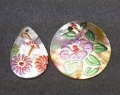 Mother of Pearl Shell Flower Pendants - Two Pendants - Hand Painted