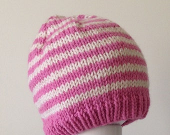 Knit Baby Hat Ready to Ship Baby Hat, Striped Hat, Rose Pink and Cream