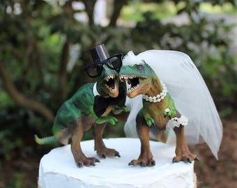 Dinosaur Wedding Cake Topper, T-Rex Cake Topper, Dinosaurs-Jurassic Park-Prehistoric Bride and Groom Animal Cake TopperWedding Topper