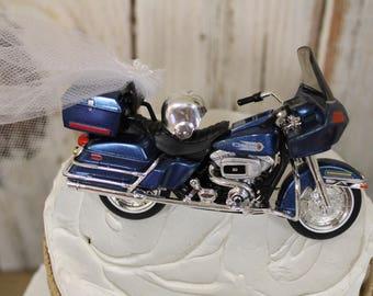 Motorcycle Cake Topper, Wedding Cake Topper, 1952 K Model Harley Davidson Cake Topper, Birthday Cake Topper, Bride and Groom Motorcycle,