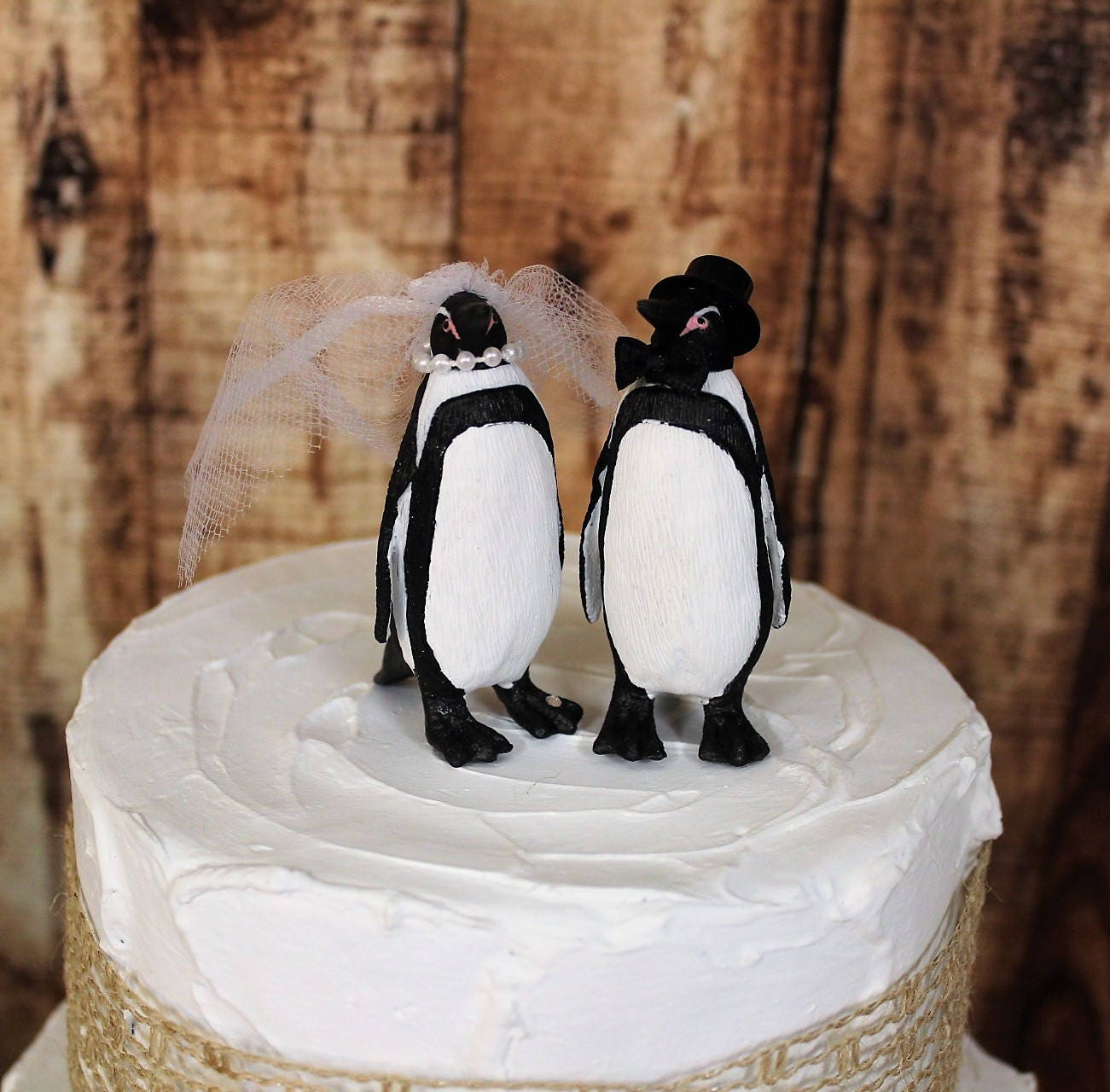 Penguin Wedding Cake Topper, Unique Cake Topper, Bride and Groom ...