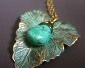 Black Friday Jewelry Sale Patina Leaf Necklace on Brass with Genuine Turquoise Gemstone, Etched Leaf Necklace, Wirewrapped Teal Patina Penda