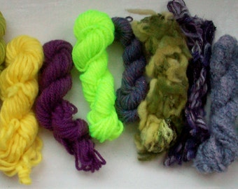 Grab bag assorted yarn 50g green purple yellow M0117-1