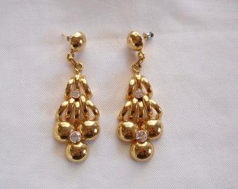 Vintage 1980s 80s Long Earrings Gold Tone 80s Glam Earrings 80s Jewelry 80s Fashion 80s Accessories Rhinestone Earrings Party Earrings