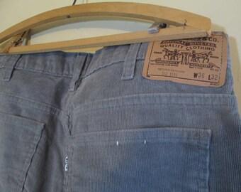 Vintage Levi 517 Corduroy 1980s pants Gray cord boot cut jeans Deadstock 80s Levis Gray Corduroy 517 jeans 36 32