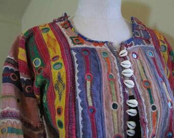 Vintage Handmade Mirror work Patchwork Jacket Cowrie Shells Banjara Hand embroidered Boho Mirror embroidery India mirror hippie jacket M