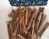 Vintage Wooden Clothes Pins - 34 of them in a Handmade Drawstring Floral Fabric Bag - Peg Style with Round Heads perfect for Doll making