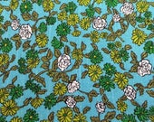 Vintage Blue and Green Floral Textured Woven Cotton Fabric - 41 Inches by 48 Inches - Gorgeous