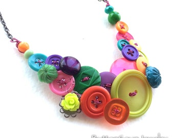 Colorful Vintage Button and Bead Necklace