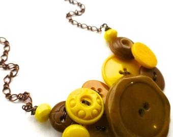 Mothers Day Sale Chunky Honey and Yellow Vintage Button Statement Necklace