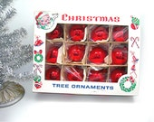 Vintage Red Teardrop Christmas Tree Ornaments, One Dozen, Made in Poland 1950s, 2 Inch, Original Box Great Graphics, Holiday Decorations