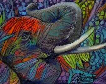original art  aceo drawing colorful zentangle design elephant