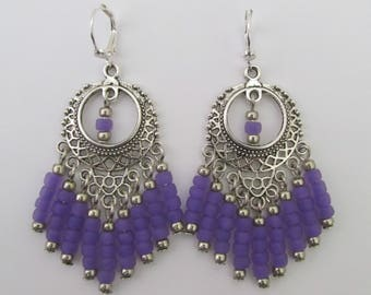 Filigree Chandelier Earrings - Purple