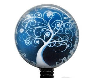 White Tree on Blue Badge Holder, Retractable ID Badge Reel  - 328