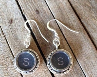 SALE Typewriter Key Earrings - Letters of your Choice - Recycled & Retro - Vintage