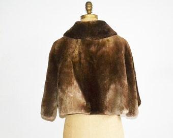 Fur cape beaver fur capelet stole brown fur cape
