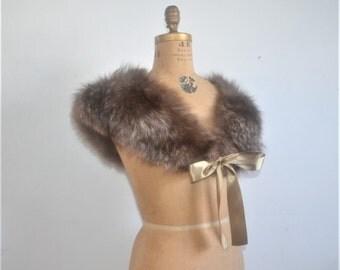 vintage Fox Fur Stole-fur wrap with satin ribbon