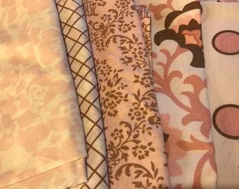 Powder Pink & Chocolate Mocha Annette Tatum Floral Damask Stripe Scraps/Yardage Destash Lot FLAT RATE 2lbs 6.6oz. of fabric Quilt Making