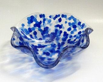 Fused Glass Bowl Blue Dots Wavy Irregular Shape Slightly Imperfect but Lovely