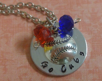 Hand Stamped Chicago Cubs Go Cubs Necklace