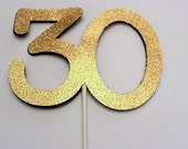 30th Birthday Cake topper - 30 Cake topper - 30th Birthday decoration - Gold Cake topper -  party decorations - Custom topper - any color