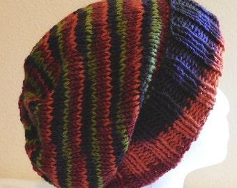 Wool Ski Hat - Snowboarding Beanie - Hand Knit Hat - Hipster Toque - Winter Cap - Harvest