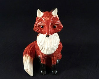 Fine Art Ceramic Fox Sculpture by artist Marsha Scarbrough