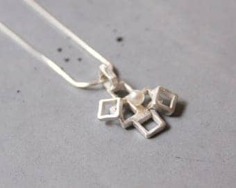 Geometric sterling silver pendant with Mother of Pearl on silver necklace, Unusual shapes, Random Squares, Geometric Necklace