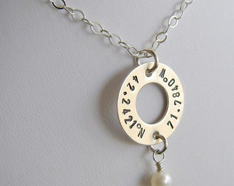 Custom Latitude Longitude Washer Necklace - Personalized Sterling Silver Hand Stamped Coordinates Necklace with Optional Birthstone or Pearl