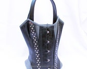 Black & Grey Studded Leather Corset Tote Bag  (MIS 126)