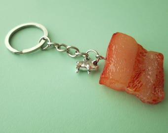 Bacon Novelty Fake Food Keychain with Silver Pig Charm