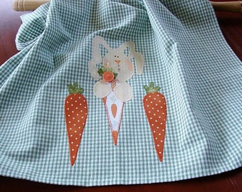 Bunny Tea Towel | Rabbit Kitchen Towel | Applique Bunny Rabbit and Carrots | Country Kitchen Decor | Green White Check Cotton Dish Towel