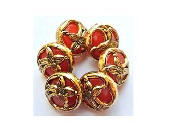 6 Vintage flowers buttons gold color flower Art Nouveau  style on red color plastic 15mm
