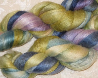 Handpainted Roving -- Merino Wool and Silk