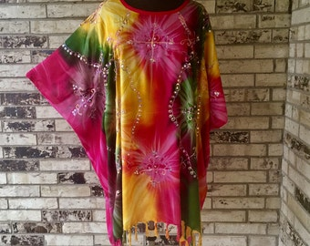Plus Size Tie Dye Lightweight Rayon Tunic with Sequins and Embroidery