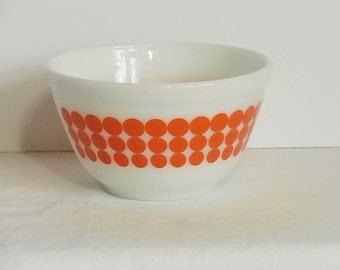 Pyrex Polka Dot Bowl Orange Dots Small Mixing Bowl 1.5 Pt 401 Glass Bowl