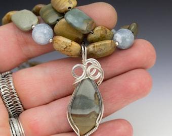 Succor Creek Jasper & Celestite Sterling Silver Wire Wrapped Pendant Necklace