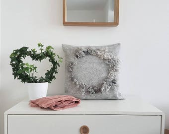 Decorative Pillow, Felt Cushion, Wool Pillow, Grey Felted Pillowcase, Nest, Housewarming Gift under 100, made to order