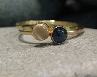 Sapphire, Moonstone, 14k Gold Hammered Stacking Ring Set. Rustic Ring Set.