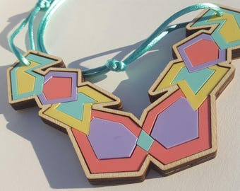 Large Geometric Abstract Necklace in Pastel Perspex and Birch on Turquoise Satin Cord