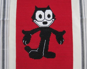 Felix The Cat Needlepoint Red Black and White