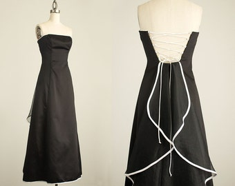 90s Vintage Black And White Chiffon Ruffle Strapless Dress / Corset Lace Up Back / Ruffle Train / Size Extra Small