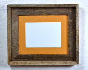 8x10 reclaimed wood picture frame with dark yellow 5x7 or 8x6 mat