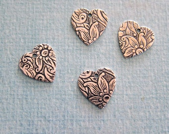4 Silver Heart Tapestry Charms 701