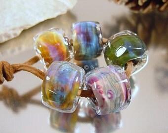 Handmade lampwork glass beads, Artisan glass beads, blue beads, purple beads, amber beads, pink beads, barrel beads, SRA lampwork beads