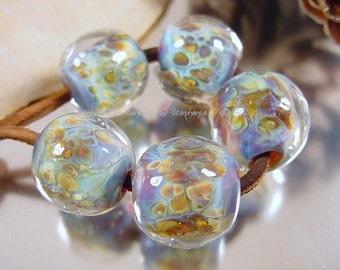 Handmade lampwork glass bead set, Artisan glass beads, blue beads, green beads, aqua beads, gold beads, round beads, SRA lampwork beads