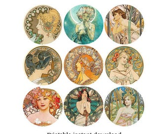 "Printable Alphonse Mucha Art Nouveau Artwork - 20 2"" circles to cut out or punch Instant Download PDF & JPG - Art Deco Flowers and Women"