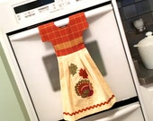 Thanksgiving Dish Towel / Tea Towel Dress in Beige, Golden Yellow and Burnt Orange with Turkey & Leaves
