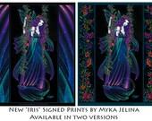 "Myka Jelina print ""Iris"" signed  8""x10"" Rainbow Flower Star Fairy Nebula Swing"